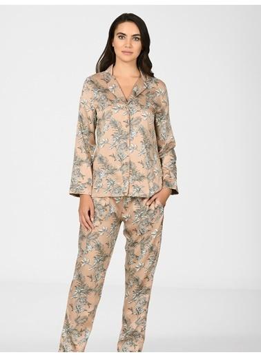 Nbb Yaprak Desenli Gömlek Kadın Pijama Takımı 67010  Kahve